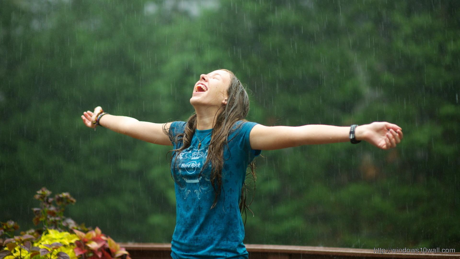 Girl-Enjoying-Rain-WideScreen-HD-Desktop-Wallpaper