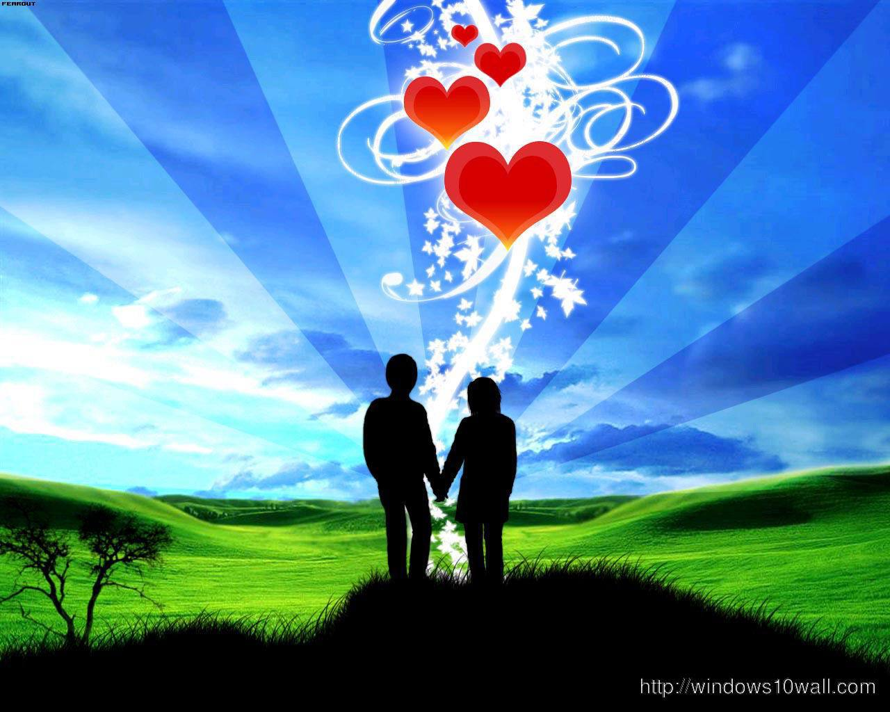 Animated Love Couple Wallpaper