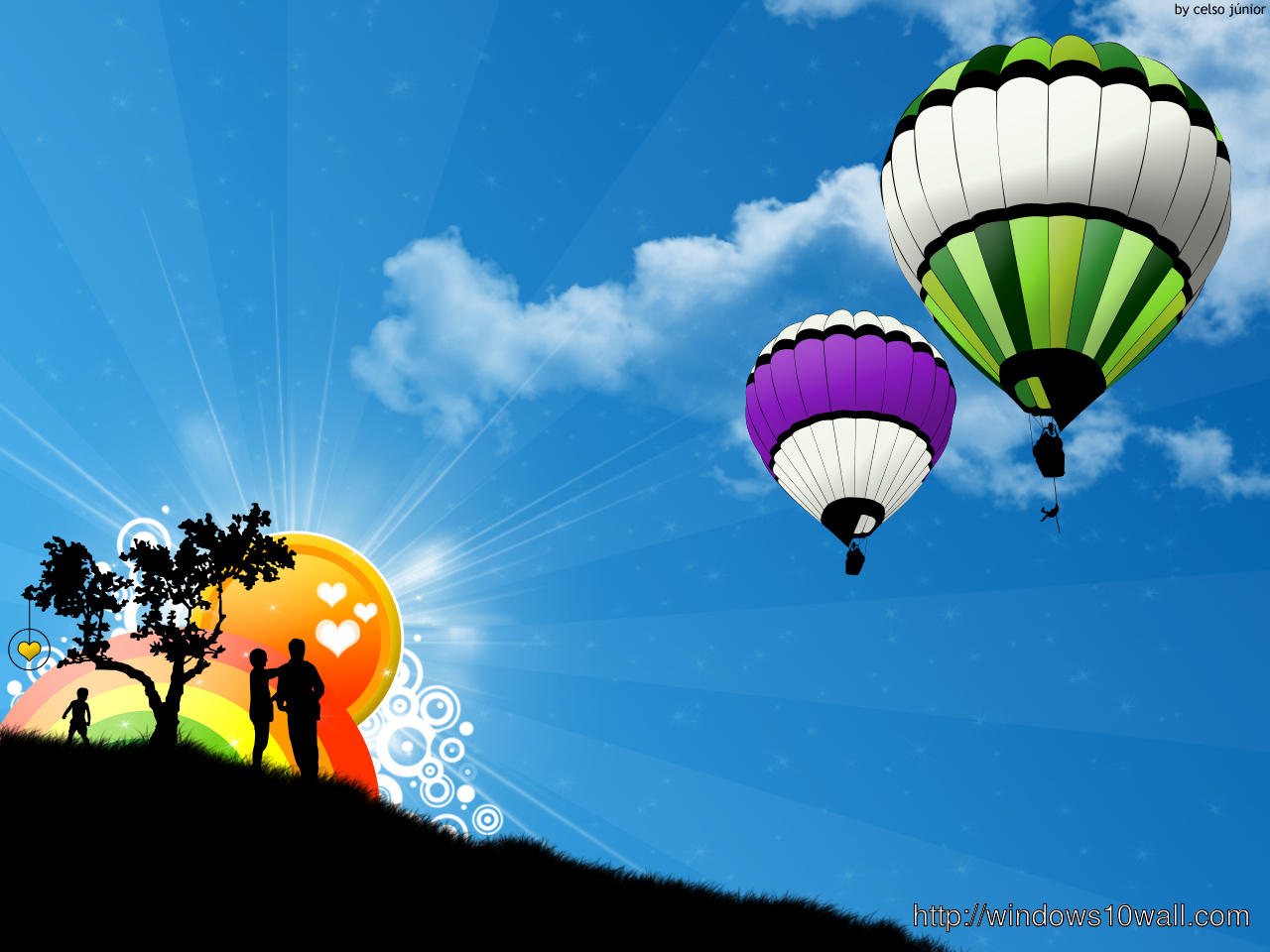 Balloons Abstract Sun Desktop Hd Wallpaper Windows 10