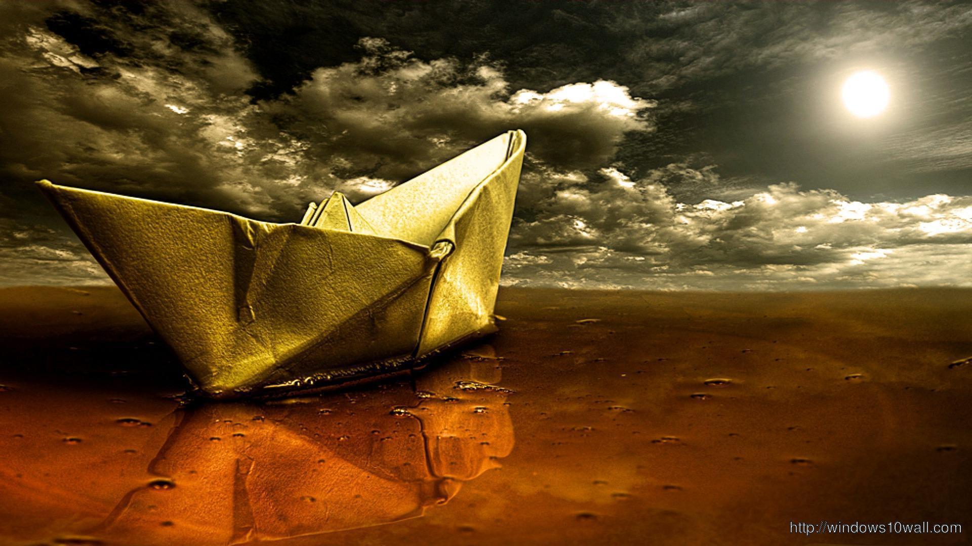 Beatiful Paper Boat Floating In Water Hd Wallpaper