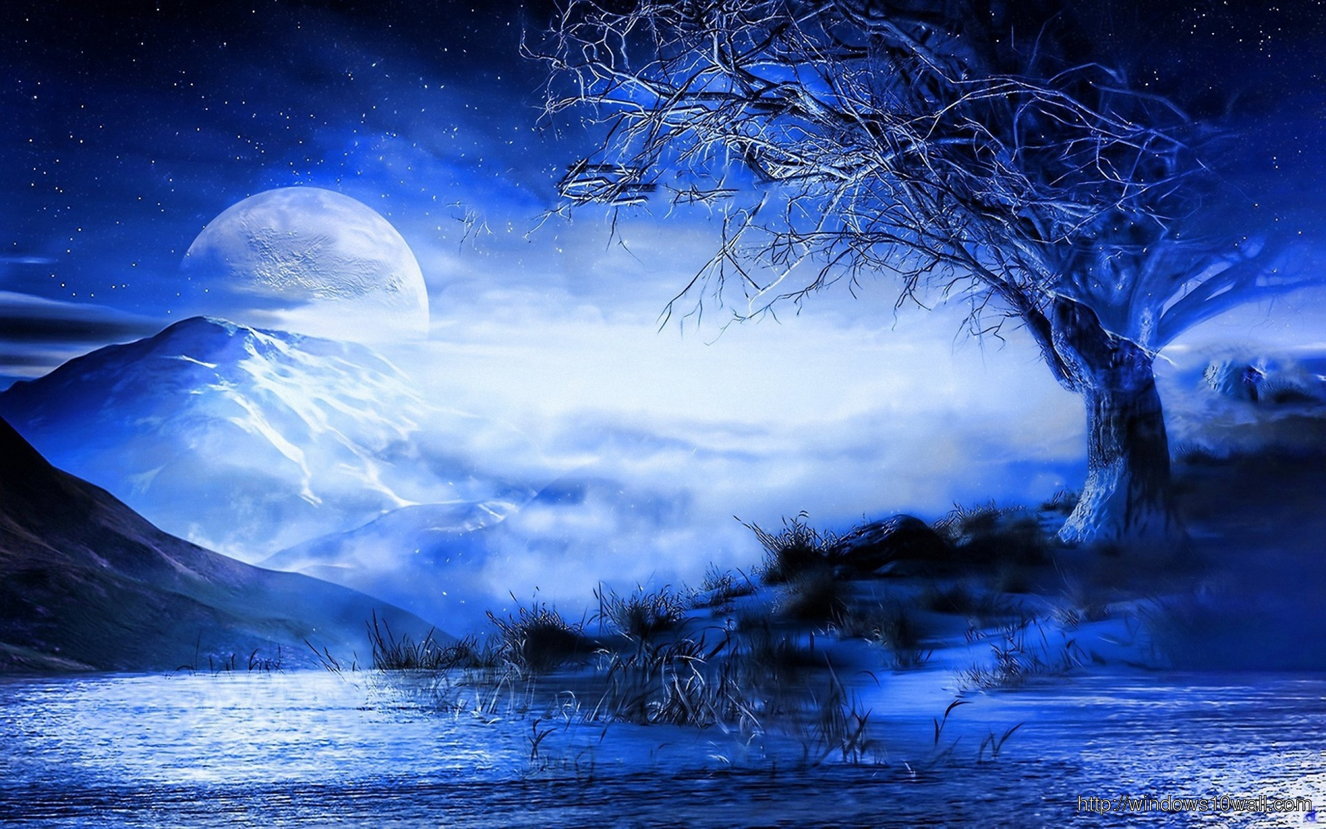 Blue Moon Behind The Mountains Hd Wallpaper Windows 10 Wallpapers