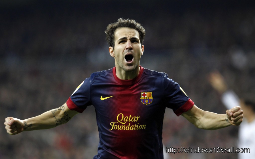 Cesc Fabregas Celebrating after Goal Wallpaper