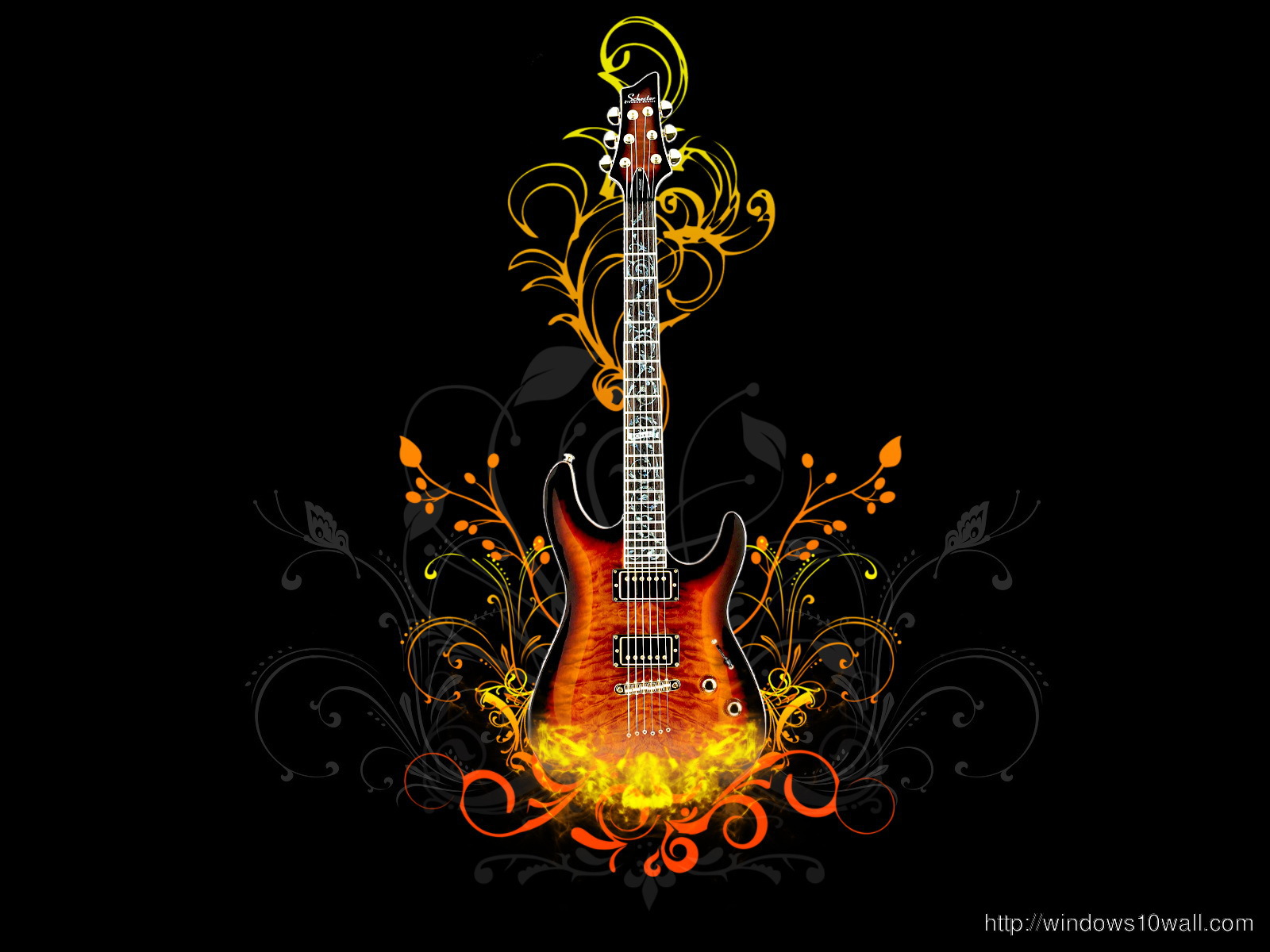 Cool Guitar HD Background Wallpaper