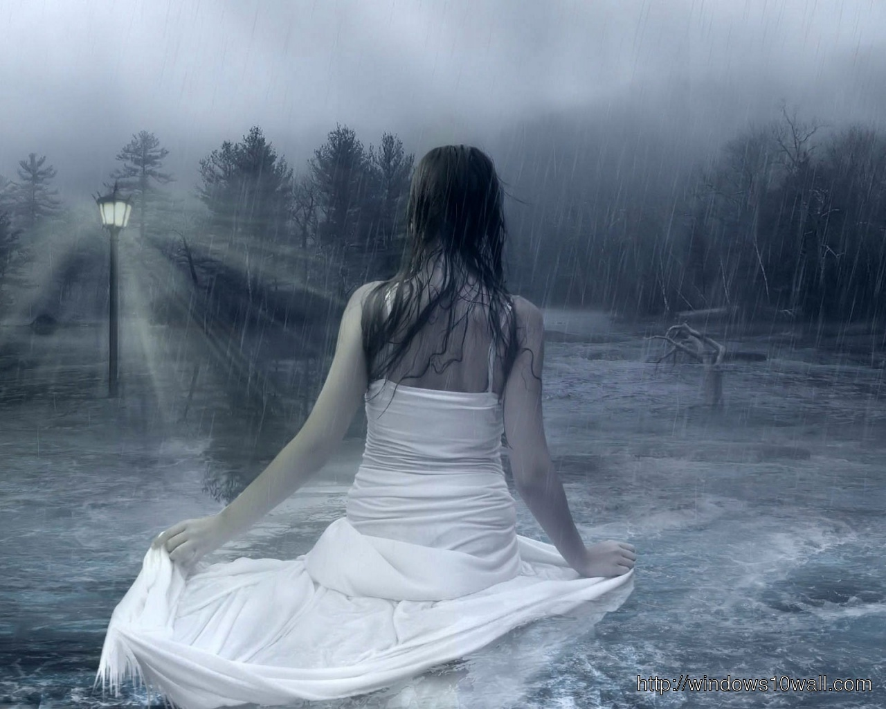 cute-girl-in-white-dress-hd-in-rain-Wallpaper