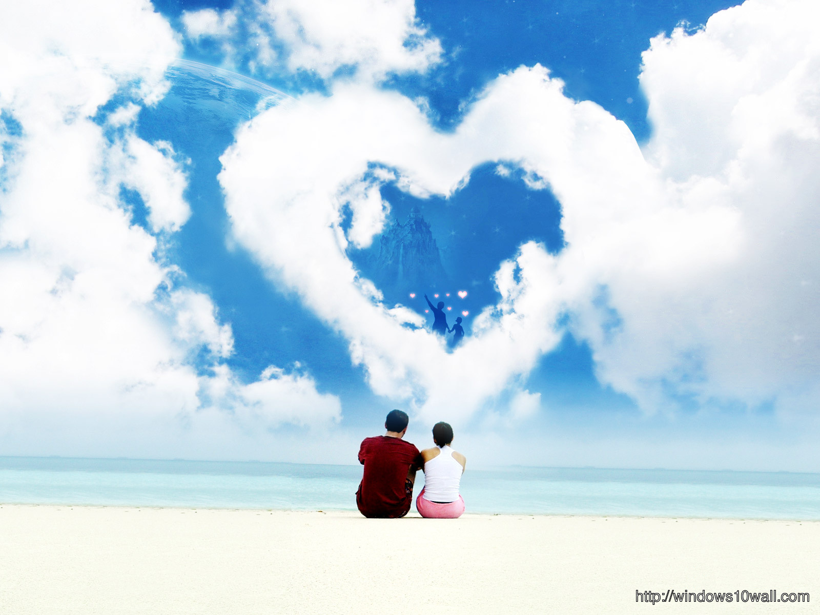 Cute love Coupole Beach Side Sky Wallpaper