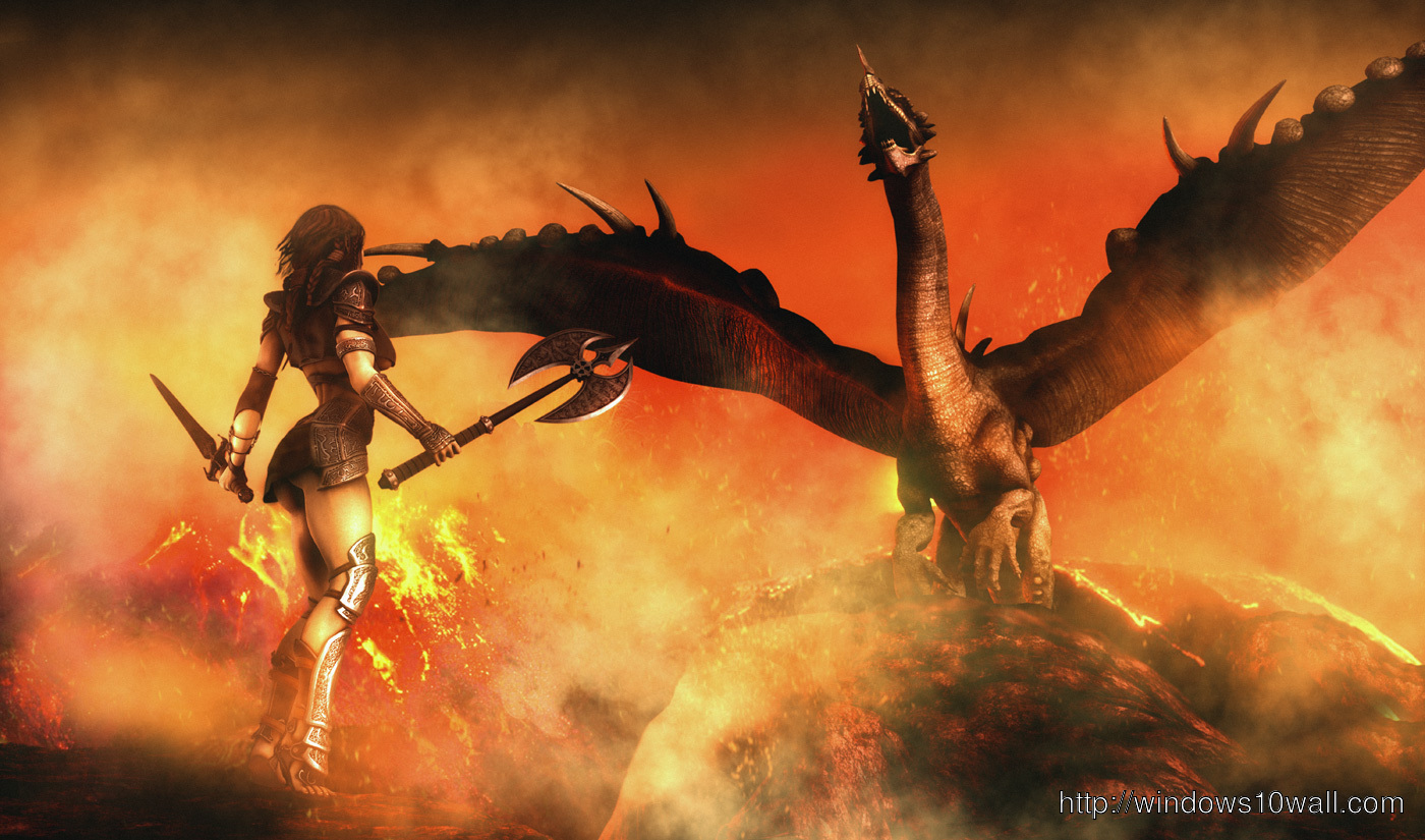 Fire Dragon n Girl Background Picture