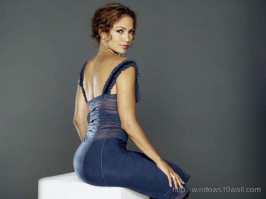 Jennifer Lopez in Blue Dress Wallpaper