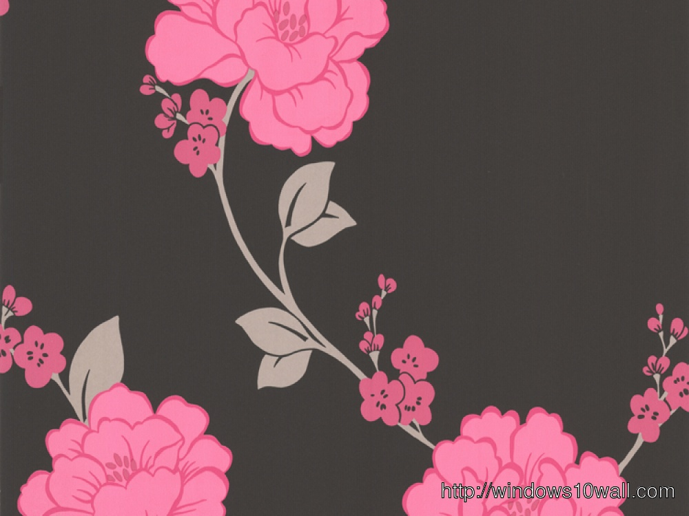 Magnificence Llb Shantung Pink Black Floral Hd Wallpaper Windows 10 Wallpapers