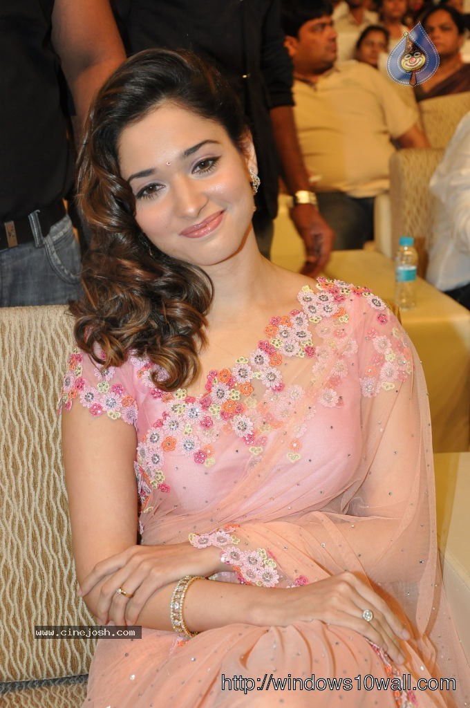 Tamanna in Saree Smiling Wallpaper