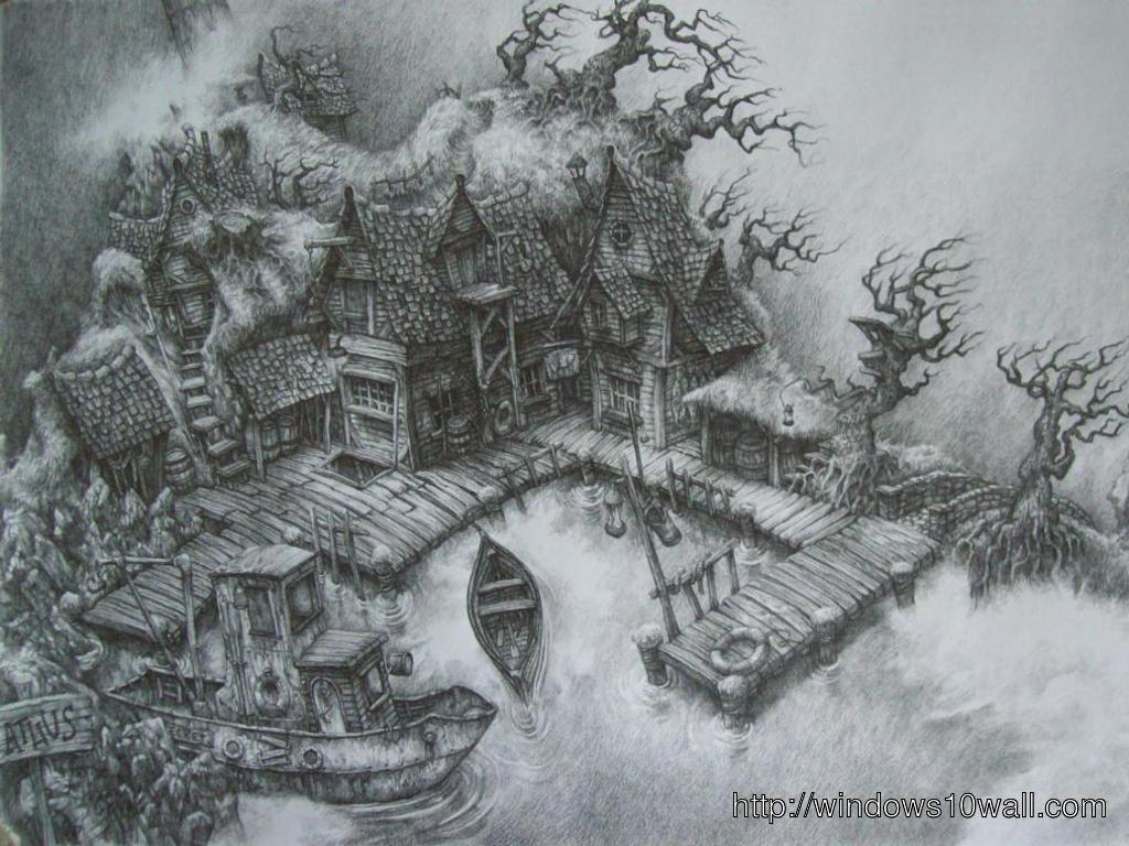 Harbor pencil drawing hd wallpaper