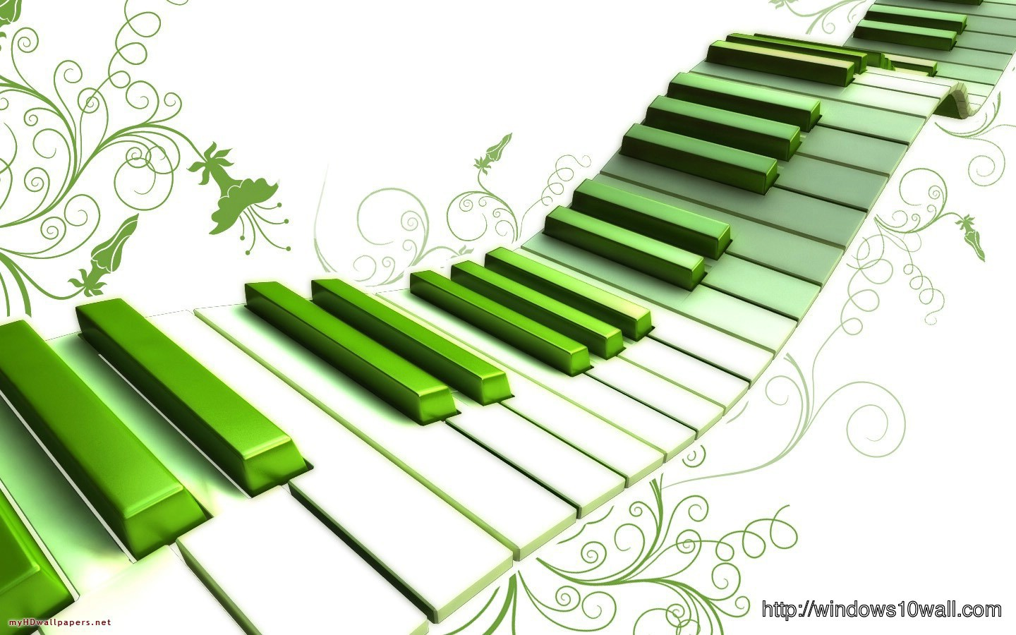 Abstract Art Music Green Piano - windows 10 Wallpapers