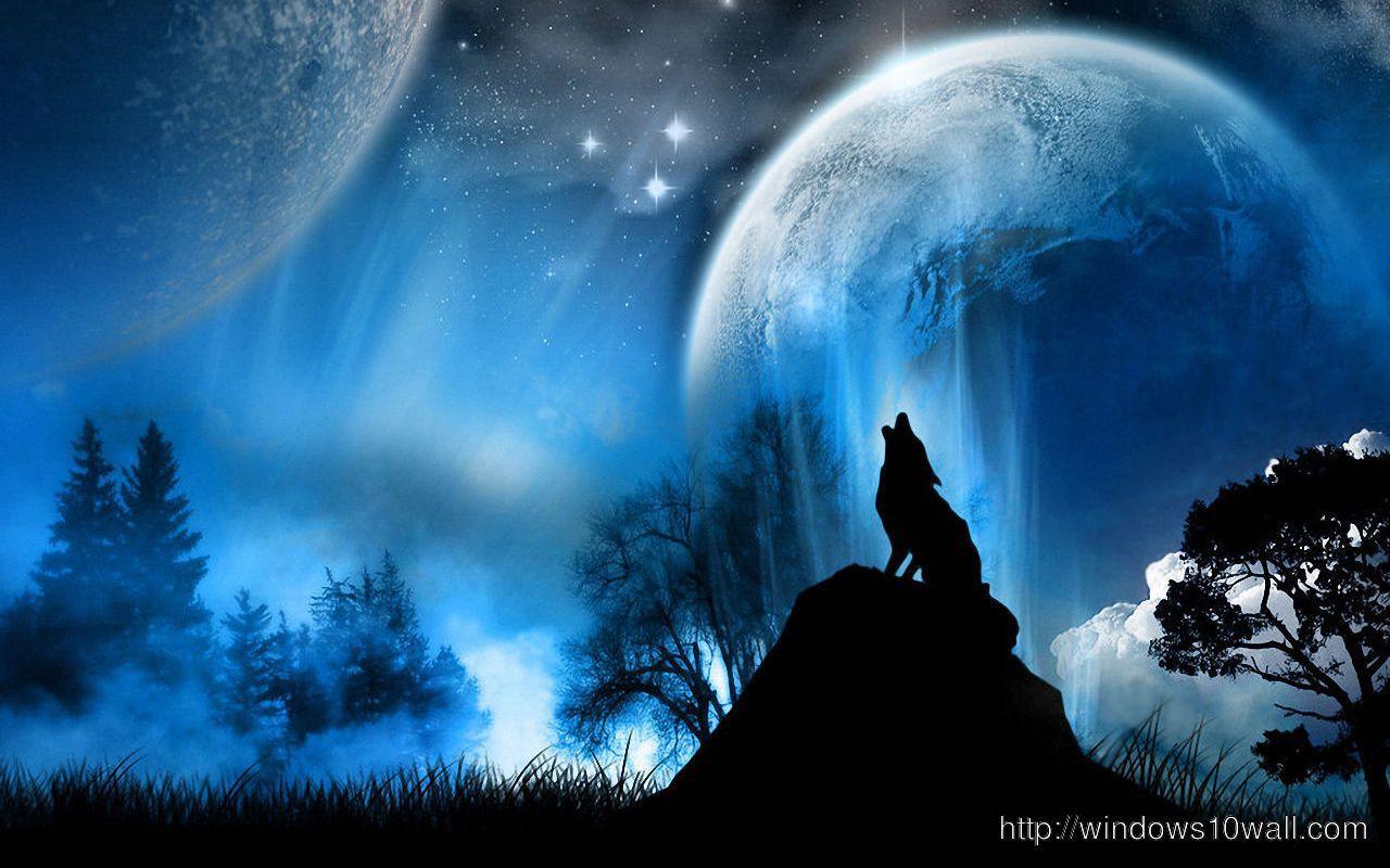 Amazing Wolf in Night Wallpaper