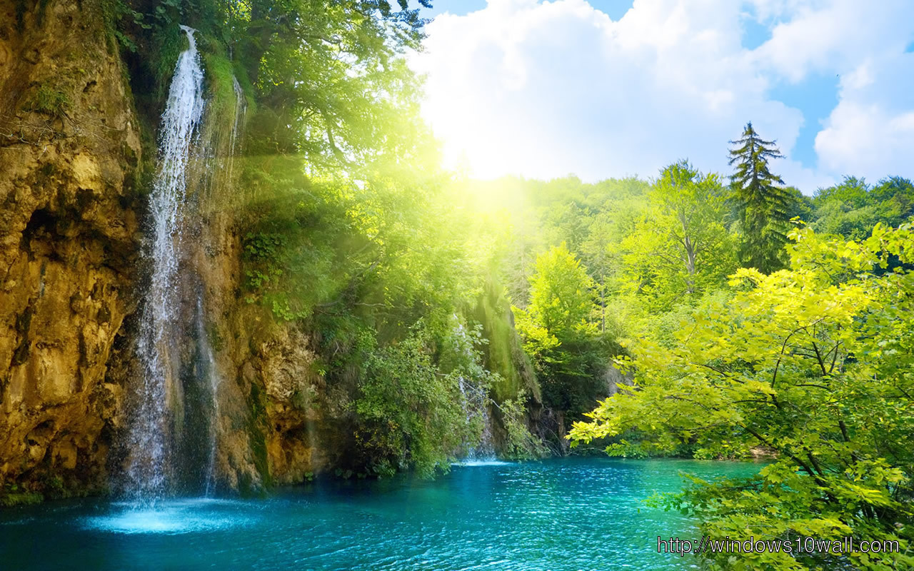 awesome-waterfall-in-blue-lake-wallpaper