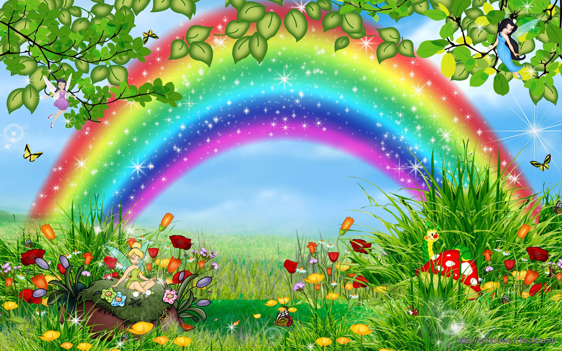 Beautiful nature rainbow wallpaper windows 10 wallpapers for Beautiful wallpaper for walls