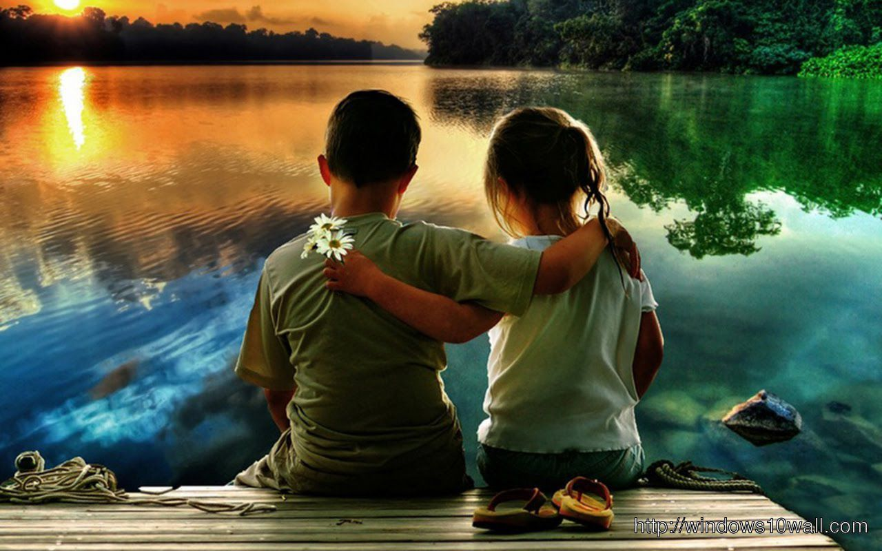 Cute Kid Couple In Love HD Wallpaper
