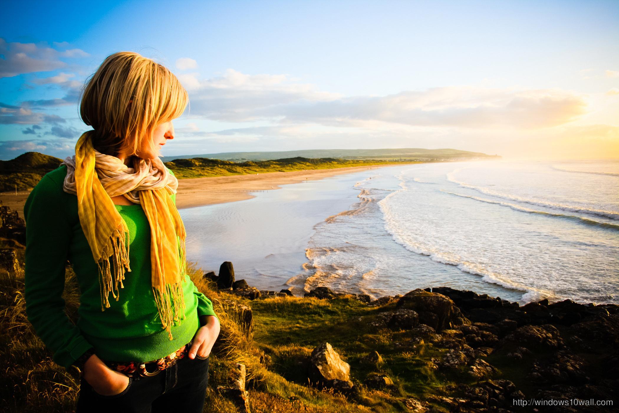 Girl In Sunset Beach Wallpaper