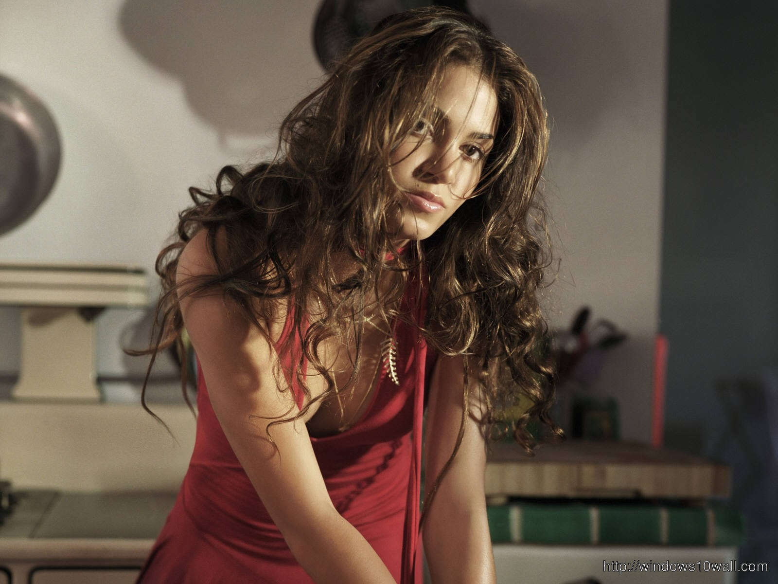 Gorgeous Nikki Reed in Red Dress Desktop Wallpaper