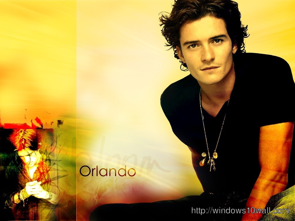 Orlando Bloom in Yellow Background Wallpaper