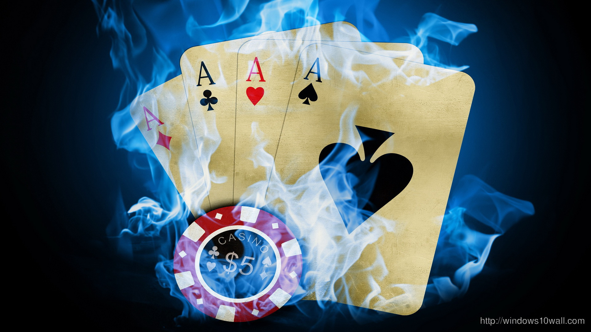 Poker Fire Cards Flames HD Free Wallpaper