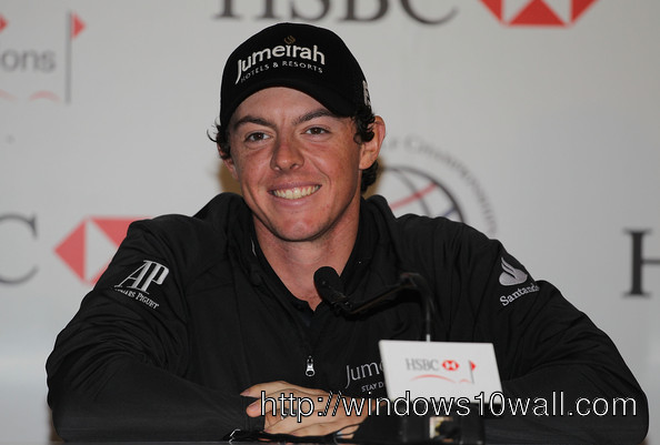 Rory McIlroy speaks with media wallpaper