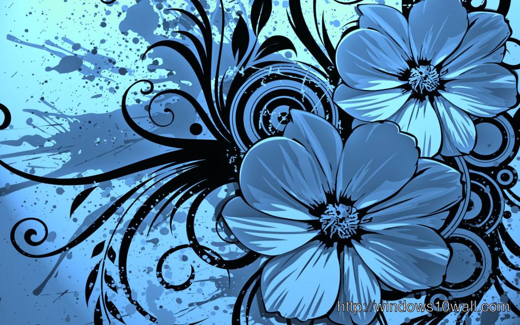 3d Wallpaper Blue Flowers 1024x640