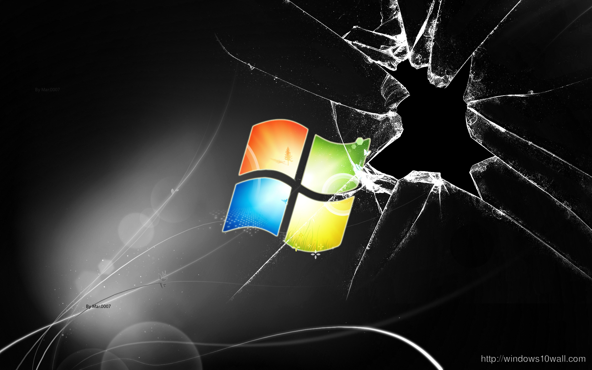 Cracked Screen Black Windows Background Wallpaper