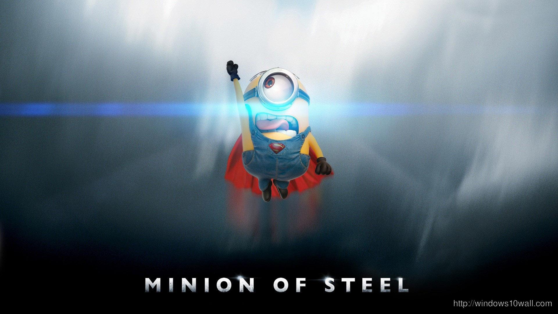 Minion On Steel Background Wallpaper