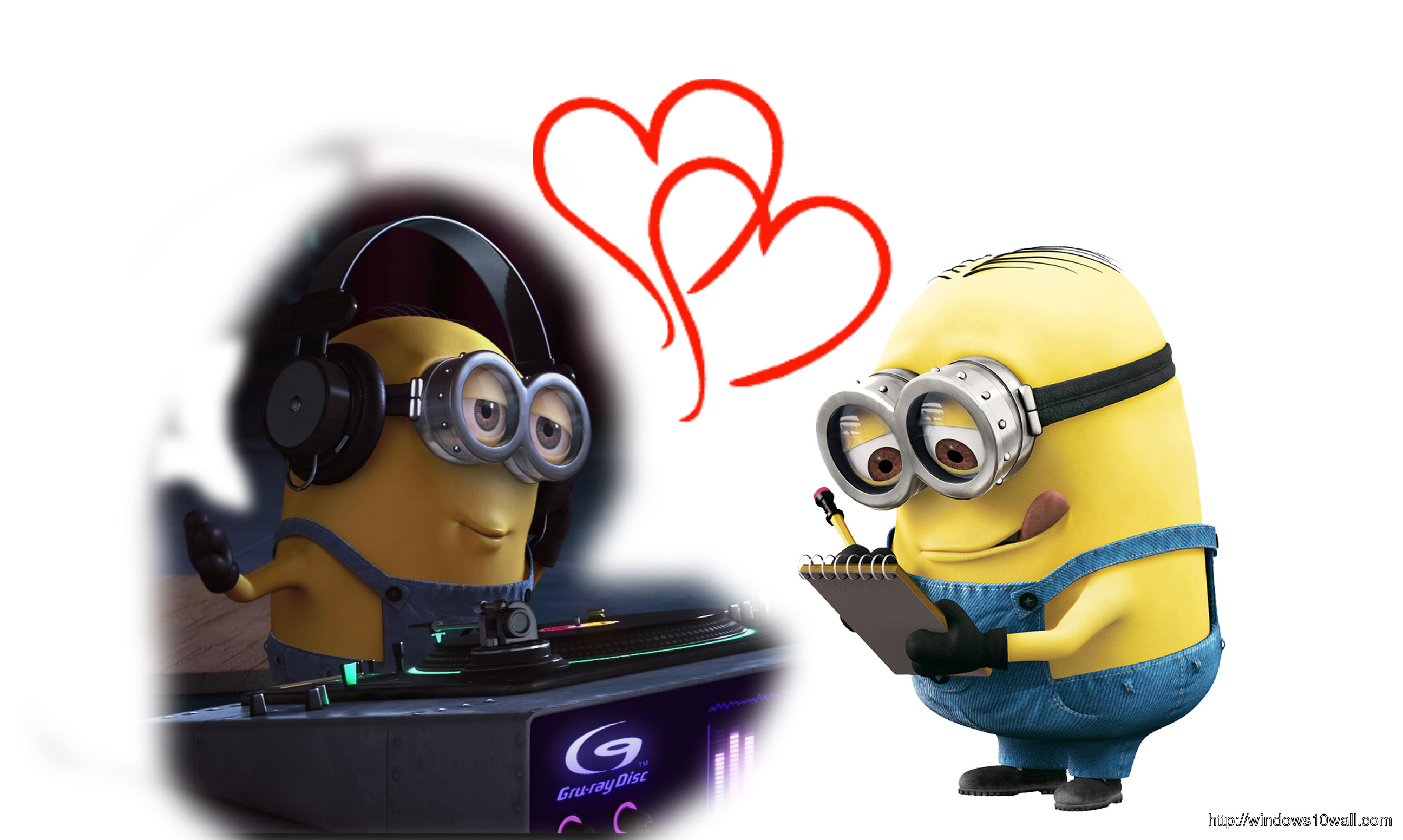 Minions In Love Background Wallpaper