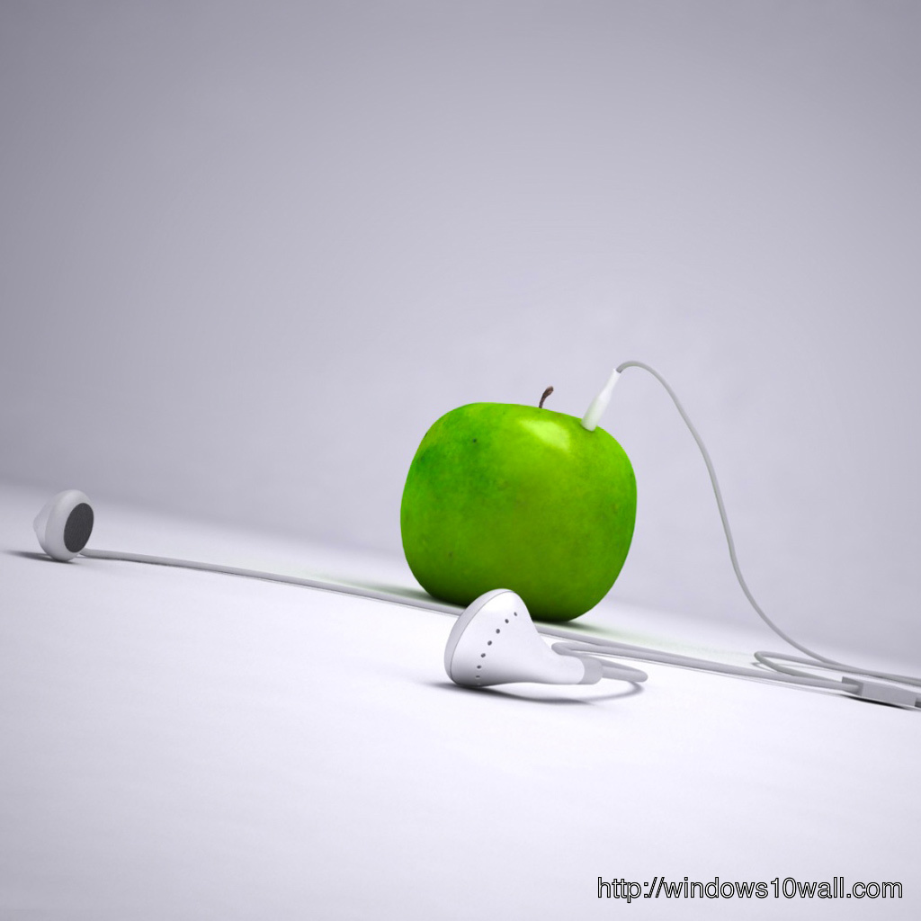 Green Apple iPod with headphone iPad Background Wallpaper