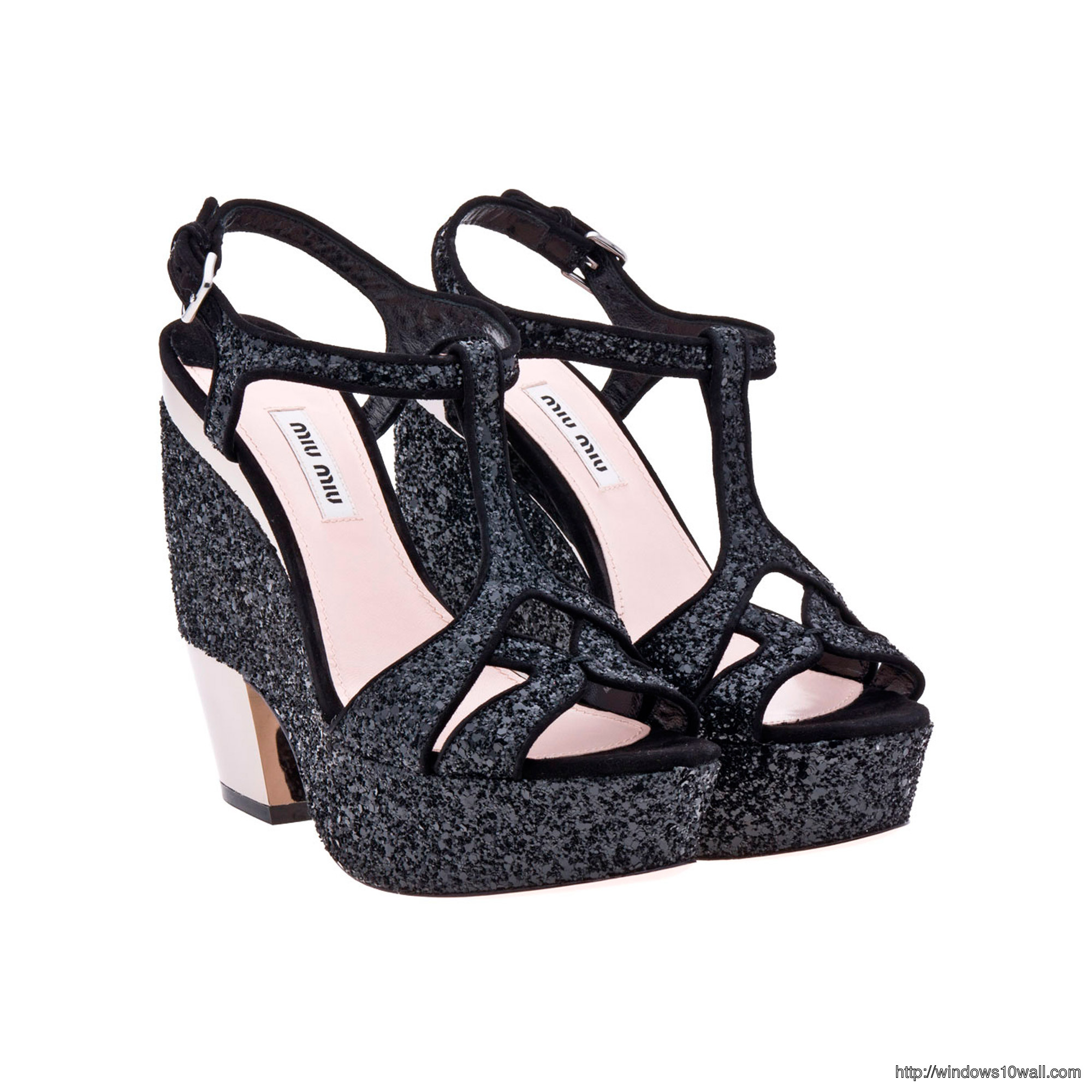 Miu-Miu-Glitter-Wedge-Sandals-in-Black-background-wallpaper